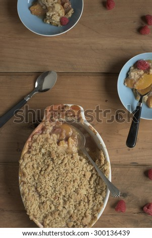 Peach and Raspberry Cobbler - stock photo