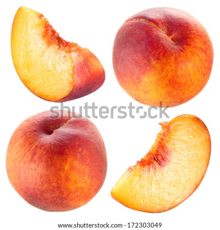 Peach and slice. Collection isolated on white. - stock photo