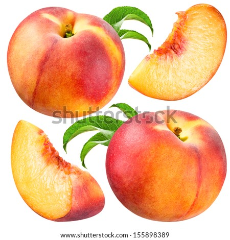 Peach and Slice isolated. Collection on white background - stock photo