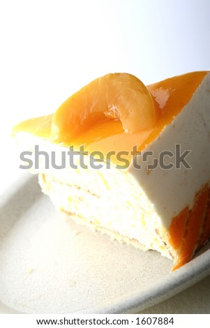 Peach cheesecake - stock photo