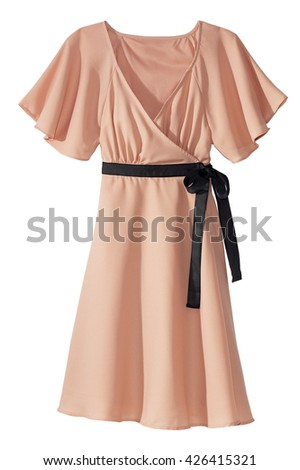 Peach dress with belt