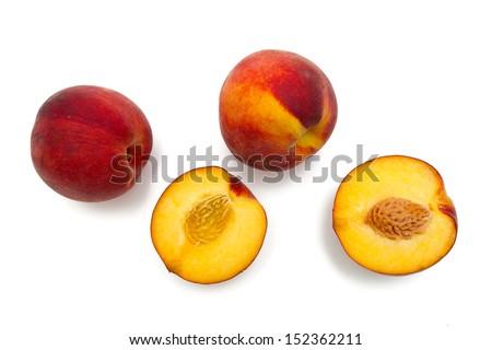 peach fruit isolated on white - stock photo