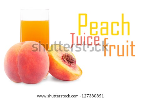 Peach fruit juice in glass isolated on white background