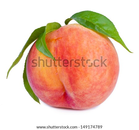 Peach fruit with leaves, studio isolated - stock photo
