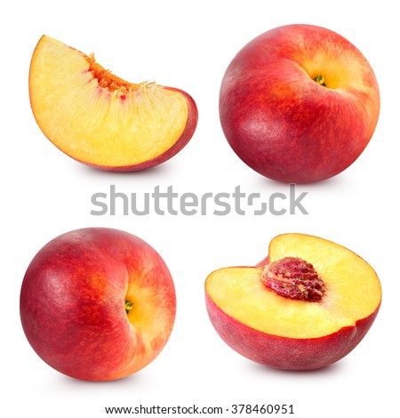 Peach fruits collection isolated Clipping Path - stock photo