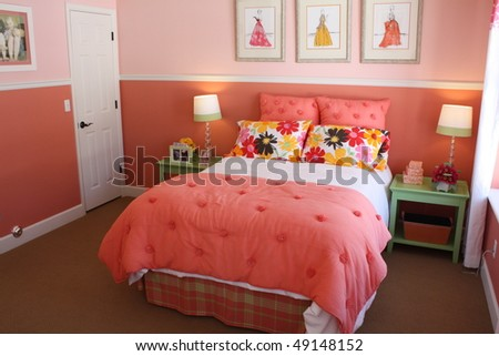 Peach Guest Bedroom - stock photo