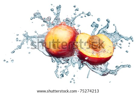 Peach in spray of water. Juicy peach with splash on white background - stock photo