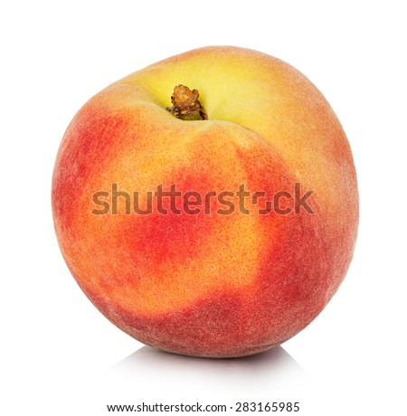 Peach isolated on white background - stock photo