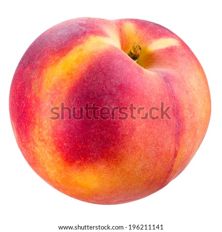 Peach isolated on white. With clipping path - stock photo