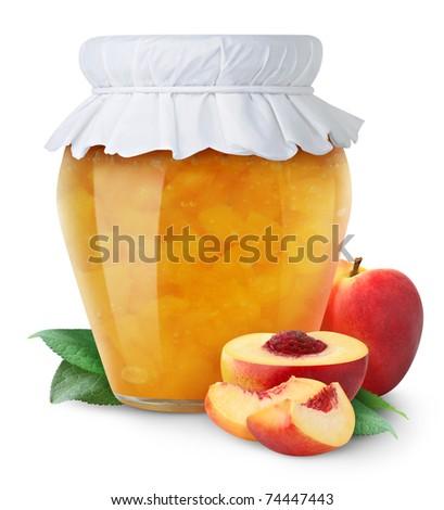 Peach jam and fresh peaches isolated on white - stock photo
