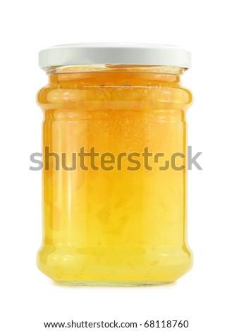 Peach jam jar, isolated on white - stock photo