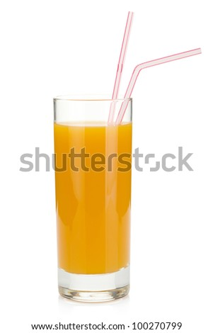 Peach juice in a glass. Isolated on white background