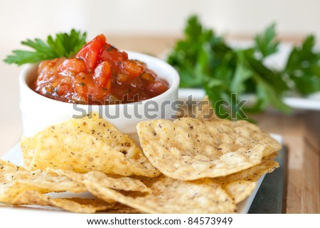 Peach Mango Salsa with Whole Wheat Chips