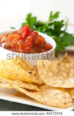 Peach Mango Salsa with Whole Wheat Chips - stock photo