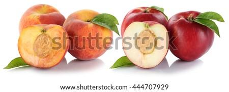 Peach nectarine peaches nectarines fruit fresh fruits isolated on a white background - stock photo