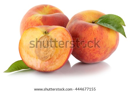 Peach peaches fruit fresh fruits isolated on a white background - stock photo