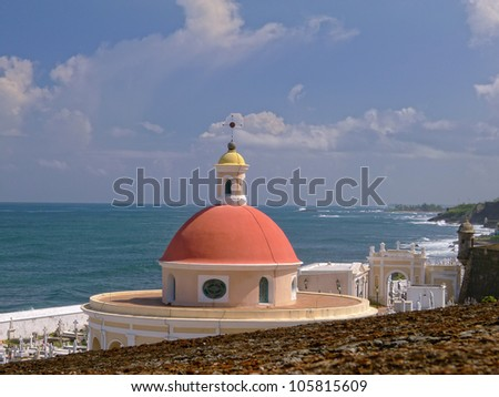 Peach Rotunda in the santa maria magdalana cemetery in san juan puerto rico - stock photo