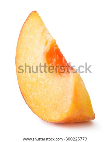 peach slice isolated on the white background