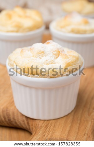 peach souffle in the portioned form, close-up - stock photo