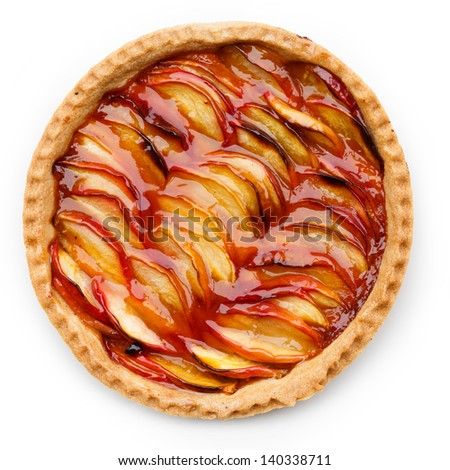 Peach tart isolated on white - stock photo