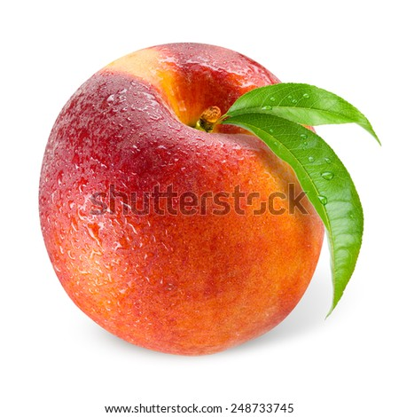 Peach. Wet fruit with leaf isolated on white - stock photo