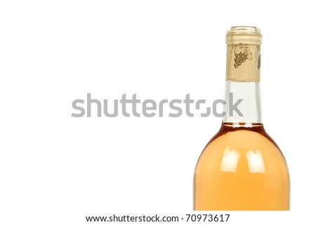Peach Wine Isolated on a White Background