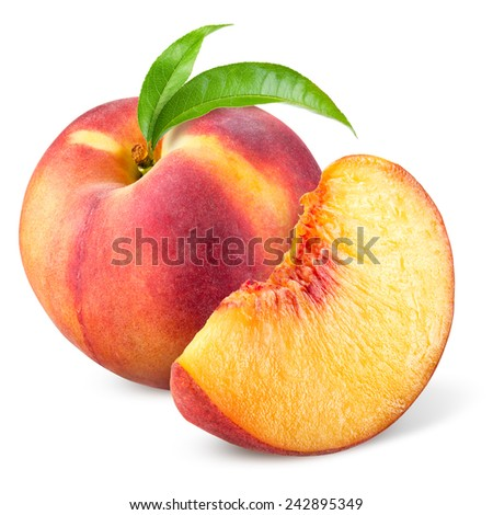 Peach with slice and leaves isolated on white - stock photo