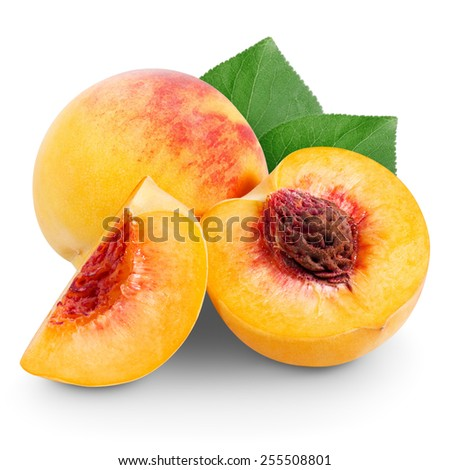 Peach with slices and leaves isolated on white background - stock photo
