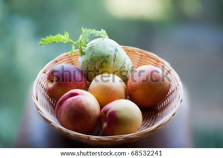 Peaches and celery for vegetarian breakfest - stock photo