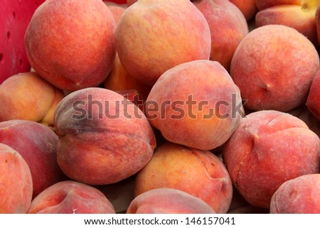 Peaches at the Santa Barbara Farmer's Market - stock photo