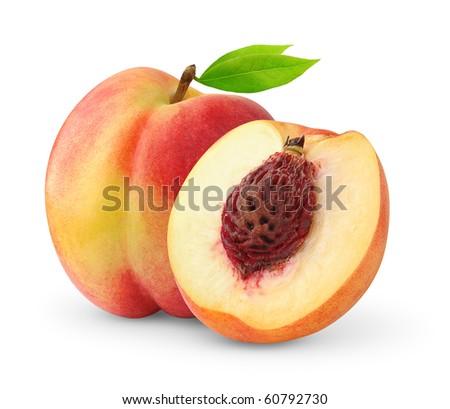 Peaches isolated on white - stock photo