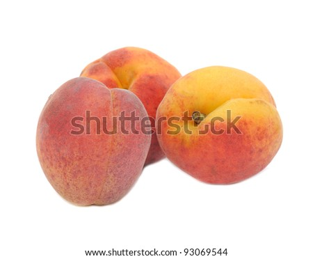 Peaches Isolated on White Background - stock photo