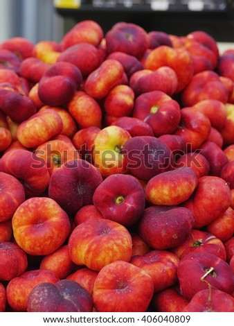 Peaches market organic - stock photo