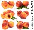 Peaches on a white background - stock photo
