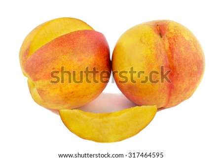 Peaches on a white background. Slice of ripe peach - stock photo