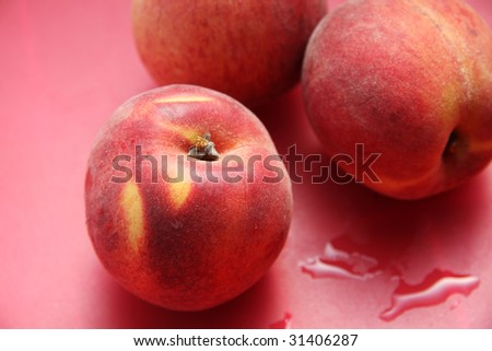 Peaches on table, close-up