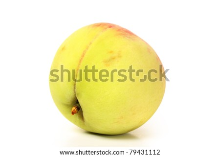 peaches  on the white background - stock photo