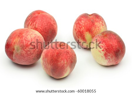 peaches on white background - stock photo