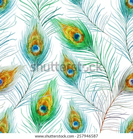 Peacock Feather Pattern Watercolor Background Wallpaper