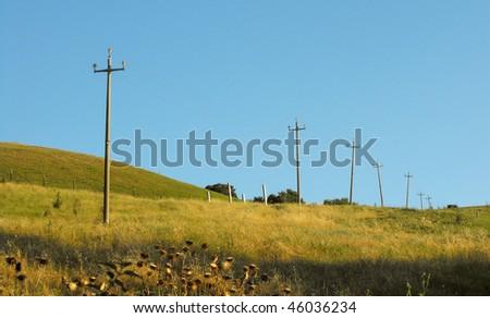peak district landscape with fields - stock photo