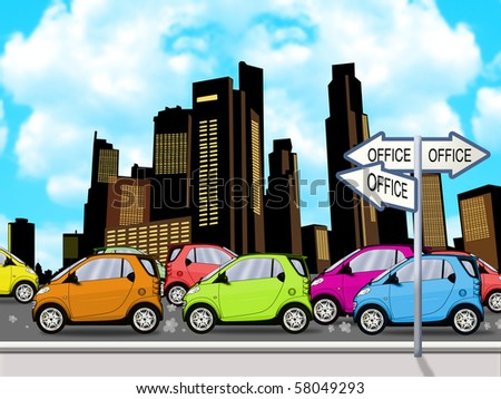 Peak hour traffic lined up bumper to bumper on one side of divided highway illustration - stock photo