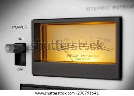 peak-meter of a vintage stereo amplifier - stock photo