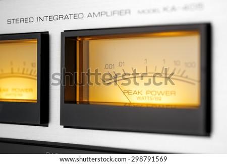 peak-meters of a vintage stereo hi-fi amplifier - stock photo