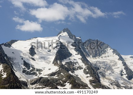 Peak of Grossglocker mountain with snow in summer time. Austria.