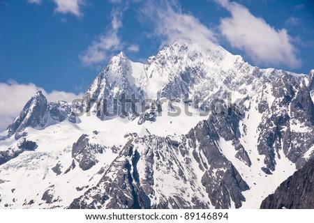 Peak of Jade Dragon snow mountain Lijiang city, Yunnan province  China - stock photo
