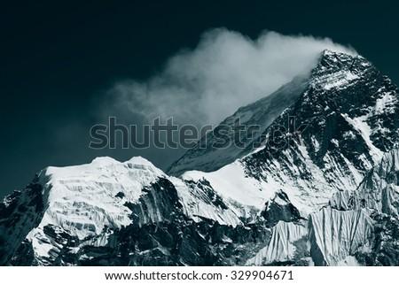 Peak of Mt. Everest. View from Gokyo Ri (5,360m.), Himalayas, Solukhumbu District (Sagarmatha NP), Nepal - stock photo