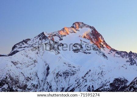 Peak of Roche de la Muzelle in French Alps - stock photo