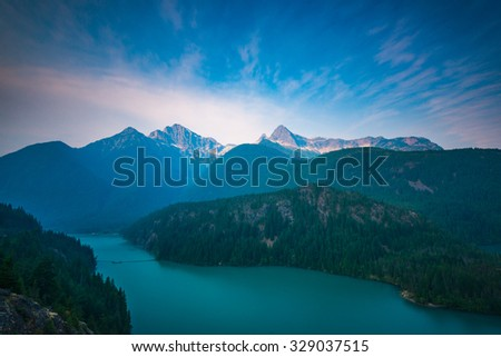 peak of the mountain,scene over Diablo lake when sunrise in early morning  in North Cascade national park,Wa,Usa - stock photo