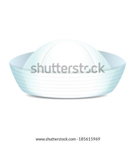 Peaked sailor hat on white background isolated  illustration - stock photo