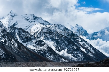 Peaks and glacier in Himalayas not far Gorak shep and Everest base camp